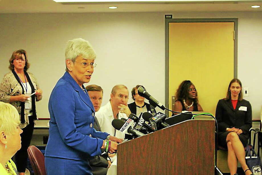 """Connecticut Lt. Gov. Nancy Wyman speaks at a press conference launching a campaign called """"Where's baby? Look before you lock."""" Photo: Contributed Photo — Connecticut Children's Hospital Facebook Page"""