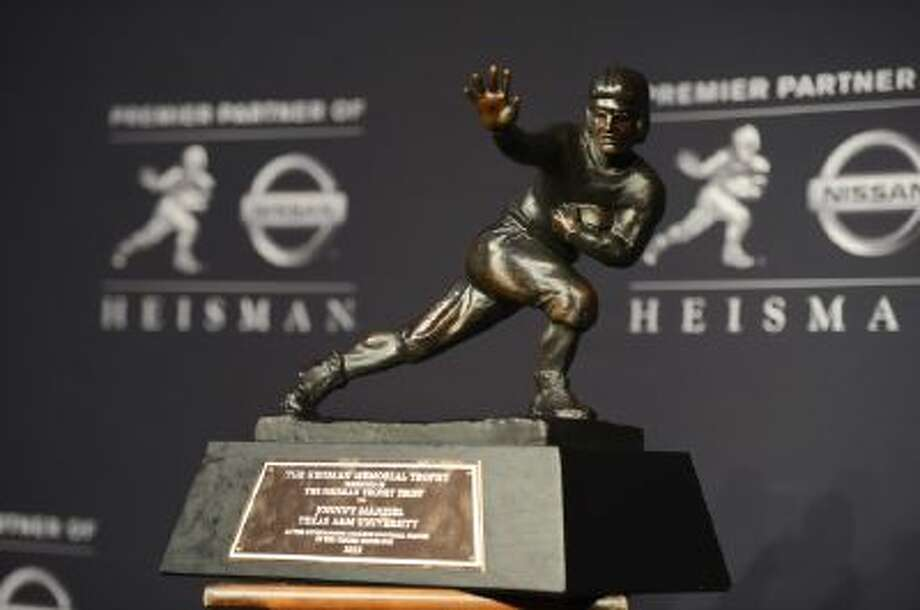 Last year's Heisman Trophy went to Texas A&M quarterback Johnny Manziel. He keeps it at his parents' home in Tyler, Texas.