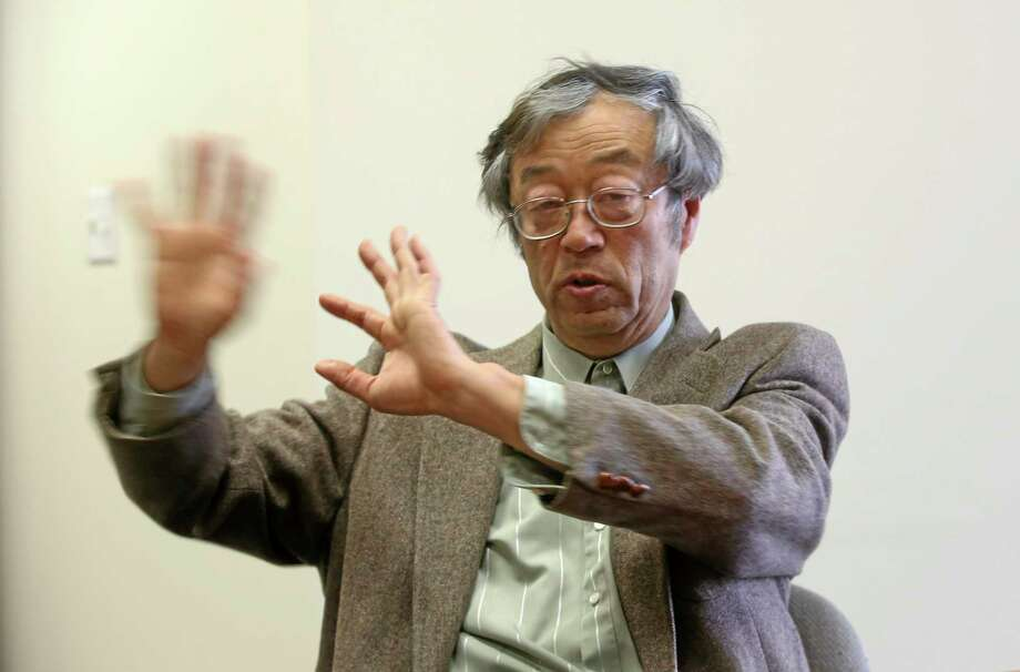 Dorian S. Nakamoto gestures during an interview with the Associated Press Thursday in Los Angeles. Photo: Nick Ut — The Associated Press  / AP