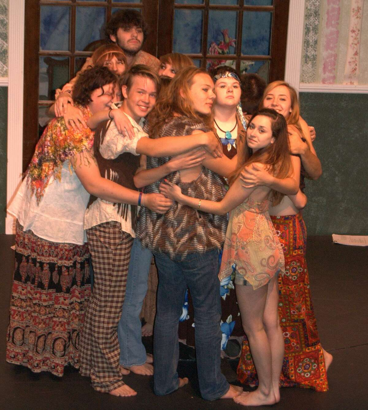 """The cast of """"Hair"""" at TheatreWorks New Milford."""