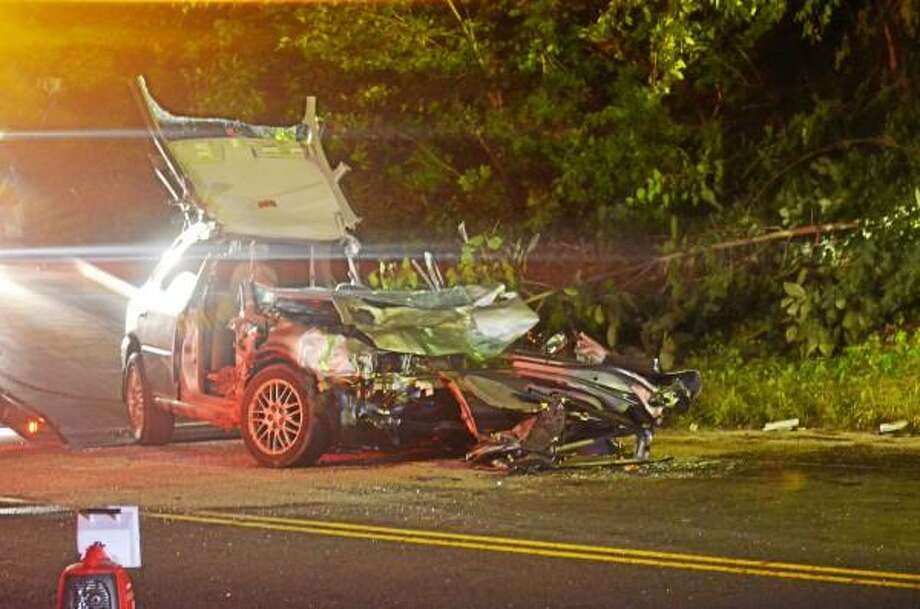 Two cars collided head-on Wednesday evening on route 44 in New Hartford. Both drivers were taken to area hospitals for what police on the scene described as non-life threatening injuries. Tom Cleary - Register Citizen