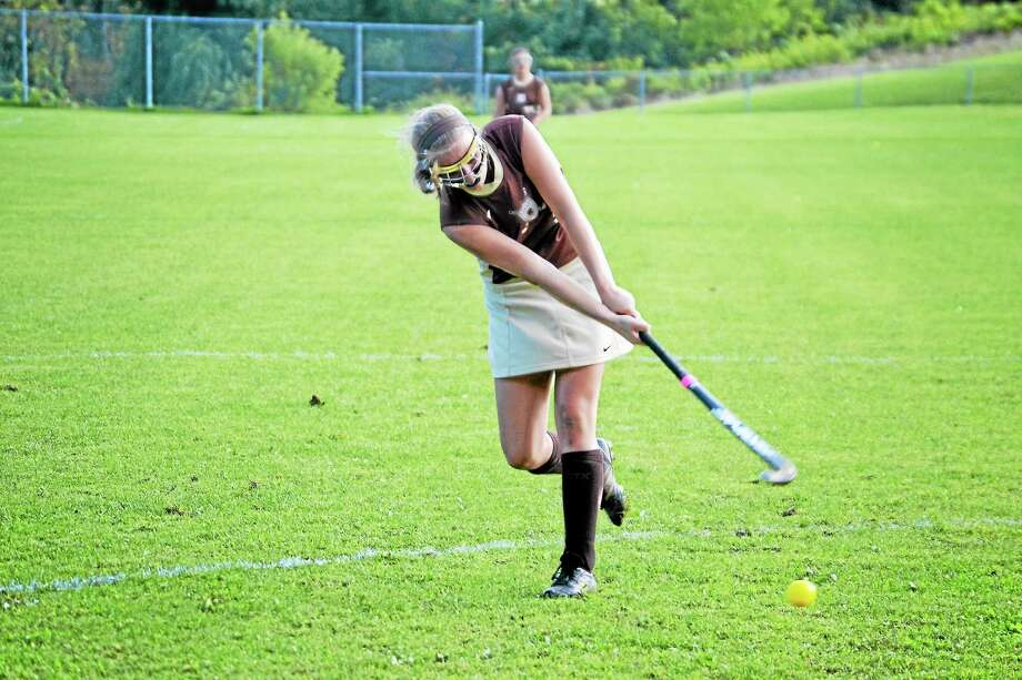 Thomaston senior Abby Hurlbert scored 12 goals and added 16 assists while leading the Golden Bears to the Class S semifinals. Photo: Pete Paguaga — Register Citizen