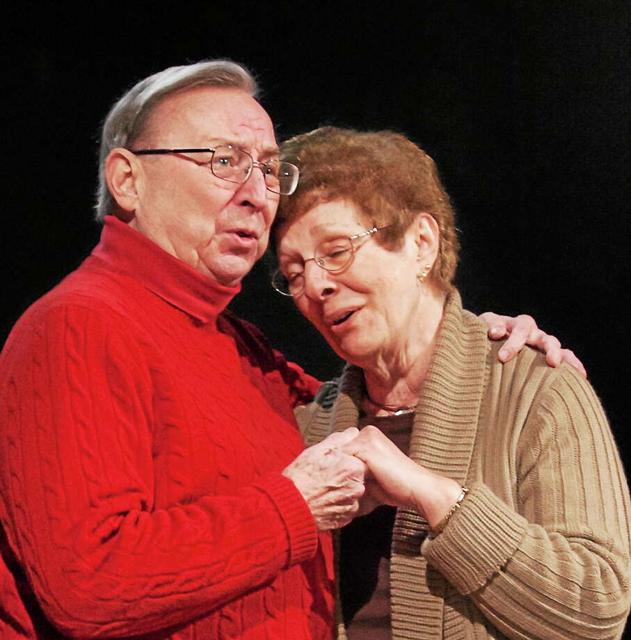 "Submitted photos - The Goshen Players Charlie Gill and Lea Dmytryck rehearse a scene from the Goshen Players' springtime show, ""I Love You, You're Perfect, Now Change."" The musical comedy opens March 28 at the Old Goshen Town Hall. Photo: Journal Register Co."