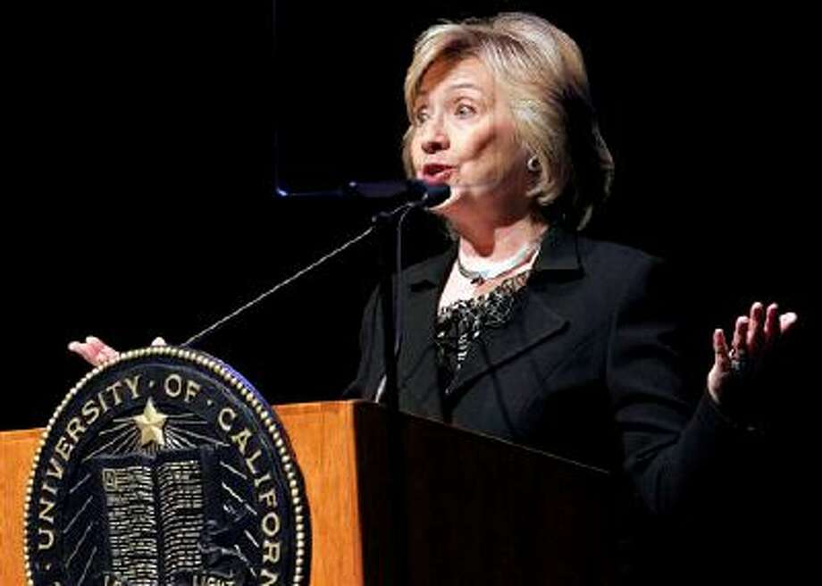 Former Secretary of State Hillary Rodham Clinton,  uses a teleprompter as she speaks to students at the University of California Los Angeles, UCLA campus on the subject of leadership in Los Angeles Wednesday, March 5, 2014. (AP Photo/Nick Ut) Photo: AP / AP
