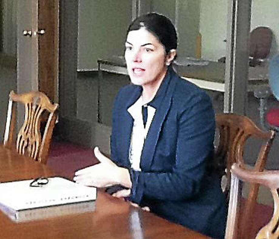 Penny Bacchiochi speaks with the New Haven register editorial board. Photo: NEW HAVEN REGISTER
