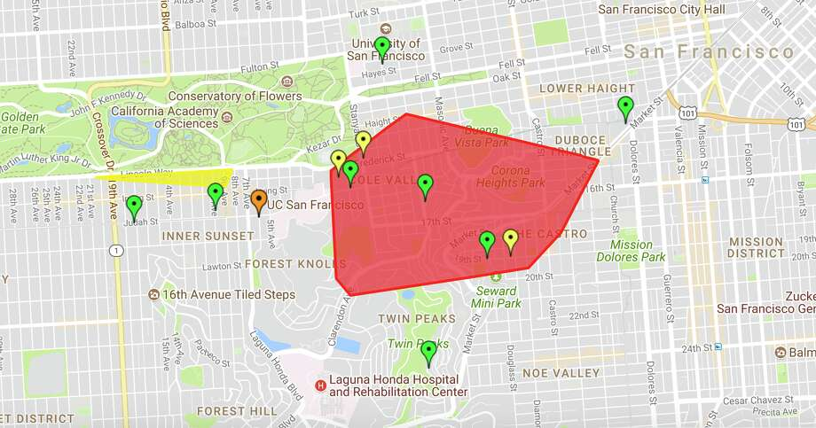 Areas affected by a blackout in San Francisco as of 5:10 PM Sunday, August 27, 2017. Photo: PG&E/Google Maps