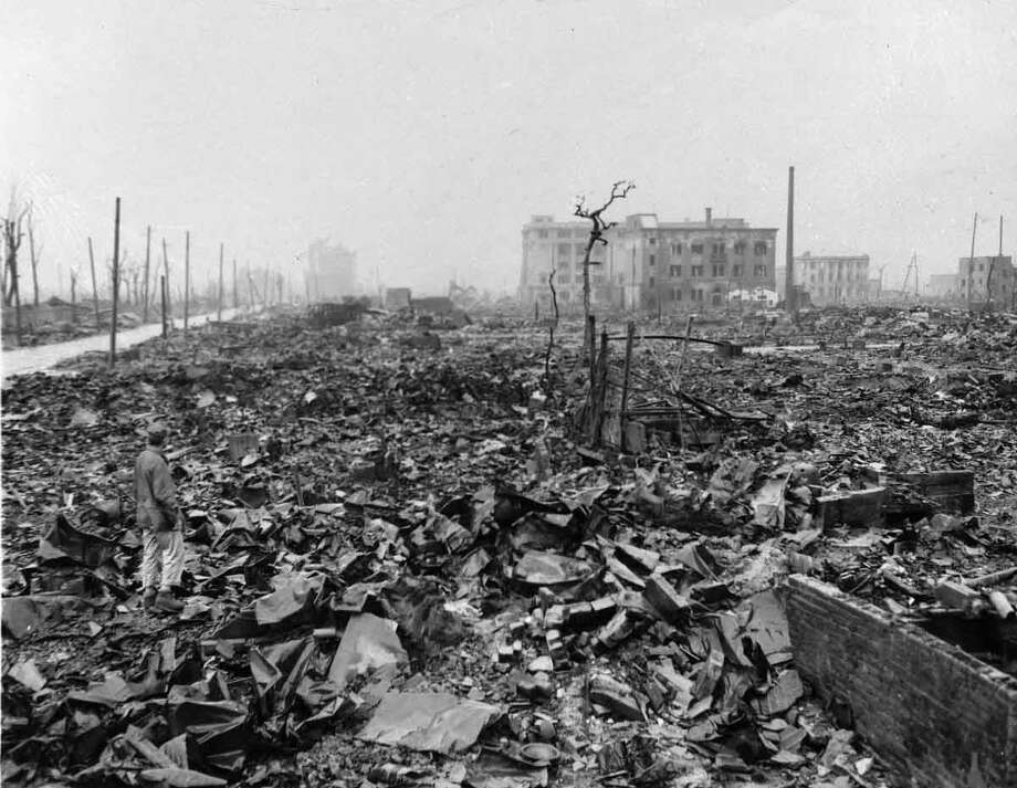 Twisted metal and rubble marks what once was Hiroshima, Japan's most industrialized city, seen some time after the atom bomb was dropped here.  (AP Photo) Photo: ASSOCIATED PRESS / AP1945