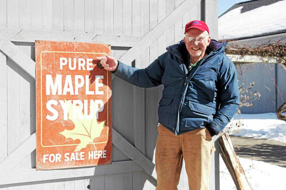 Mark Harran on his Brookside Farm II in Litchfield Photo: Shako Liu — The Register Citizen
