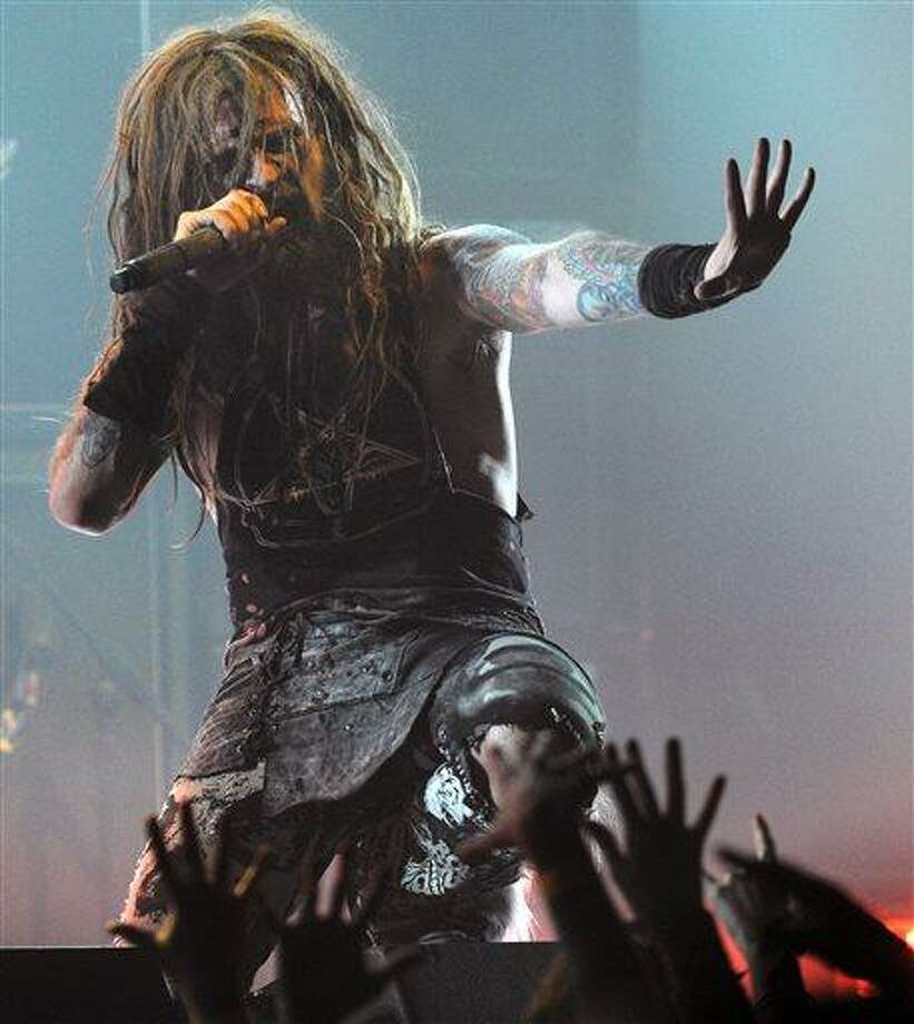 FILE-- This April 8, 2010 file photograph shows singer Rob Zombie as he performs during the second annual Revolver Golden Gods Awards in Los Angeles.  The town of Woodbury, Conn. has taken steps to reduce noise following complaints from Zombie and his wife about a skate park near their home in the small Litchfield County community. (AP Photo/Chris Pizzello) Photo: AP / AP