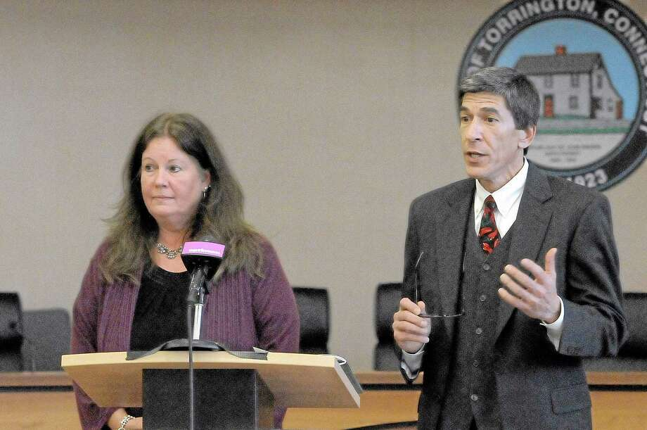 Nancy Cannavo, manager for the Behavioral Health Center at Charlotte Hungerford Hospital, and Guy Rovezzi, president Community Foundation of Northwest Connecticut, speak about a plan to end homelessness locally at Torrington. Photo: Laurie Gaboardi—Register Citizen