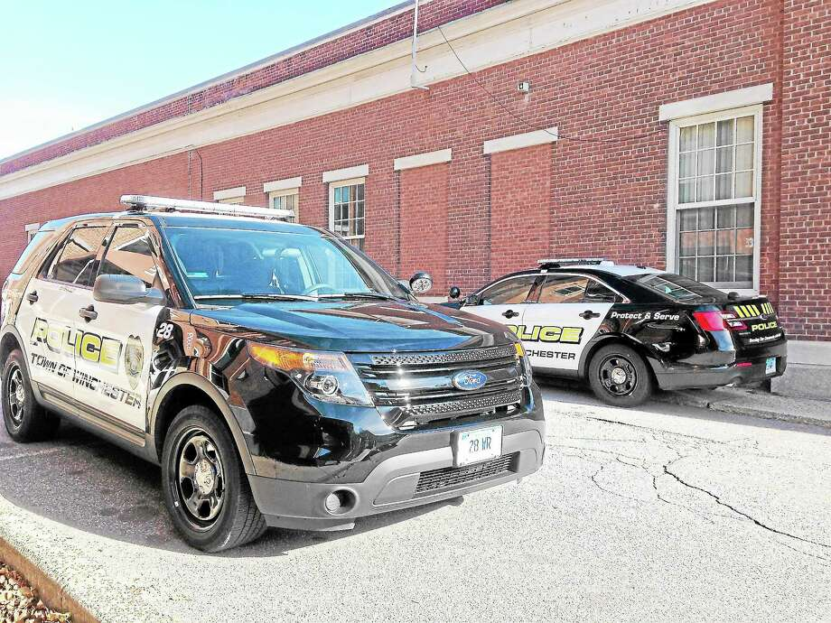 The two new vehicles added to the fleet of police cars for the Winchester Police Department. Photo: Mercy A. Quaye — Register Citizen