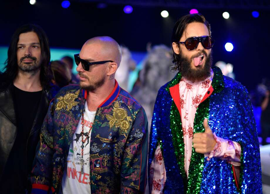 INGLEWOOD, CA - AUGUST 27: (L-R) Tomo Milicevic, Shannon Leto and Jared Leto of musical group Thirty Seconds to Mars attend the 2017 MTV Video Music Awards at The Forum. Photo: Matt Winkelmeyer/Getty Images