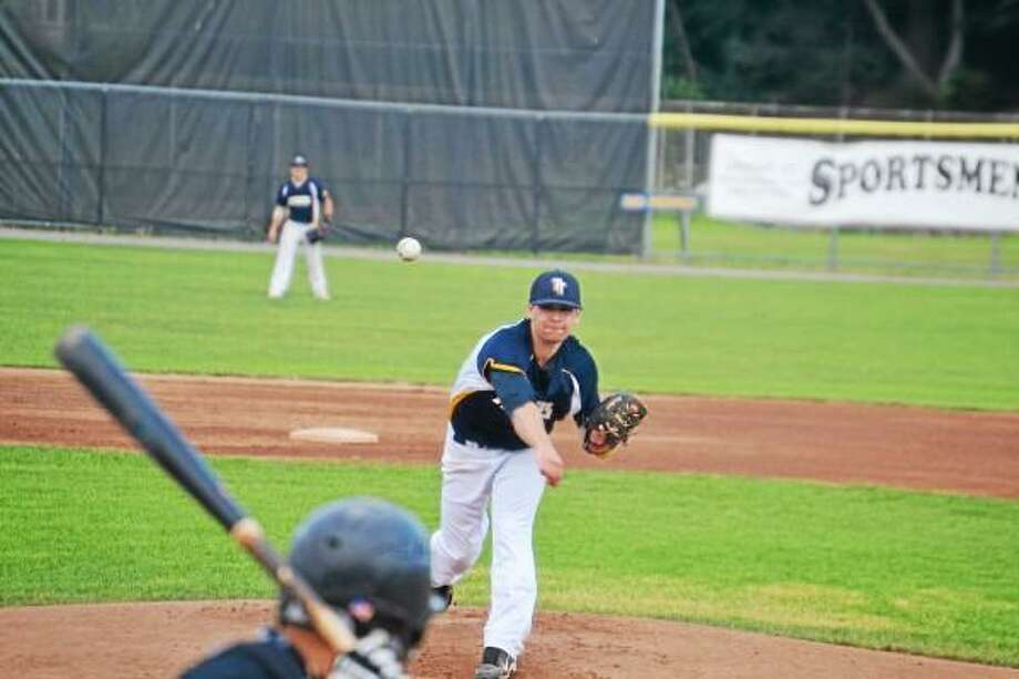 Matt Quintana pitches for the Torrington Titans. Pete Paguaga - Register Citizen photo.