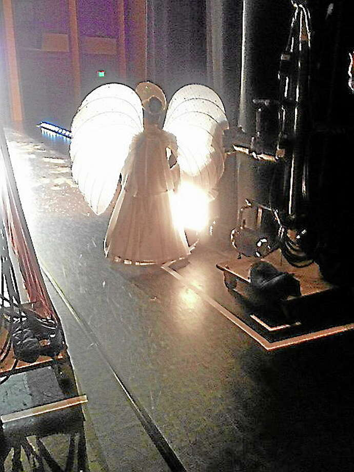 A Nutcracker Angel waits patiently in the wings with ChildrenÌs Ballet Mistress, Susan Szabo. Photo: Kim Fazzino—Fazzino Photography