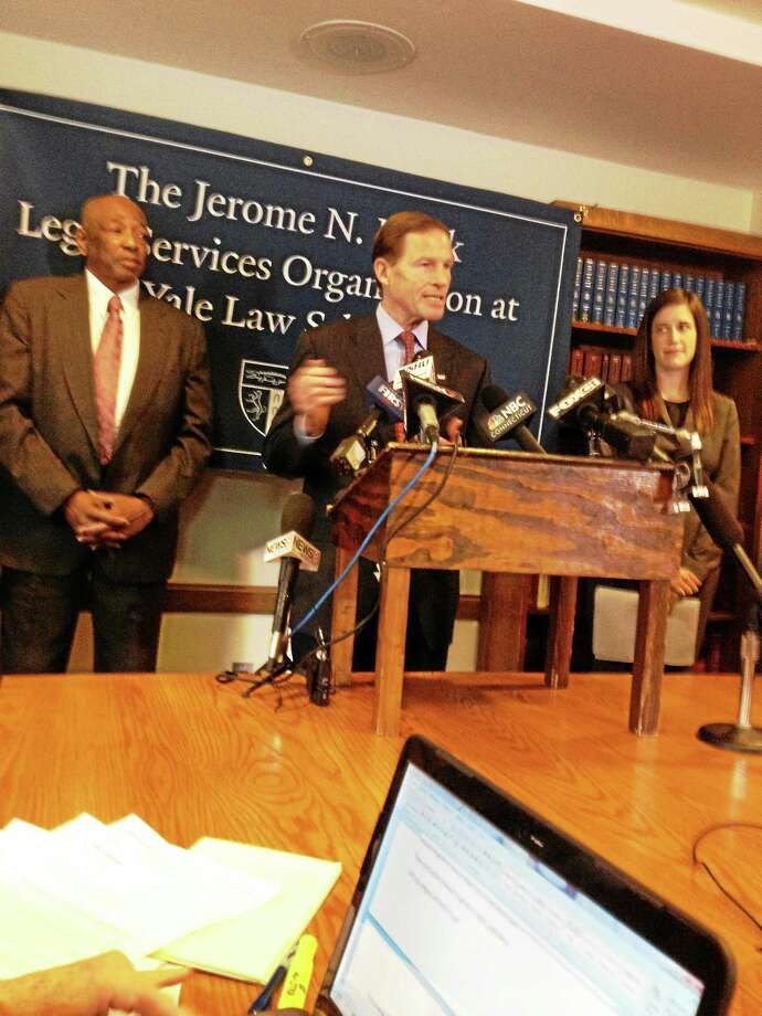 U.S. Sen. Richard Blumenthal?, center, Conley Monk, left and Yale Law School student Virginia McCalmont          Photo by Mary O'Leary Photo: Journal Register Co.