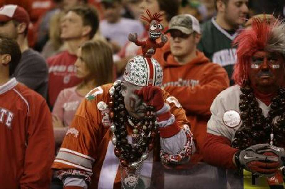 An Ohio State fan during the second half of a Big Ten Conference.