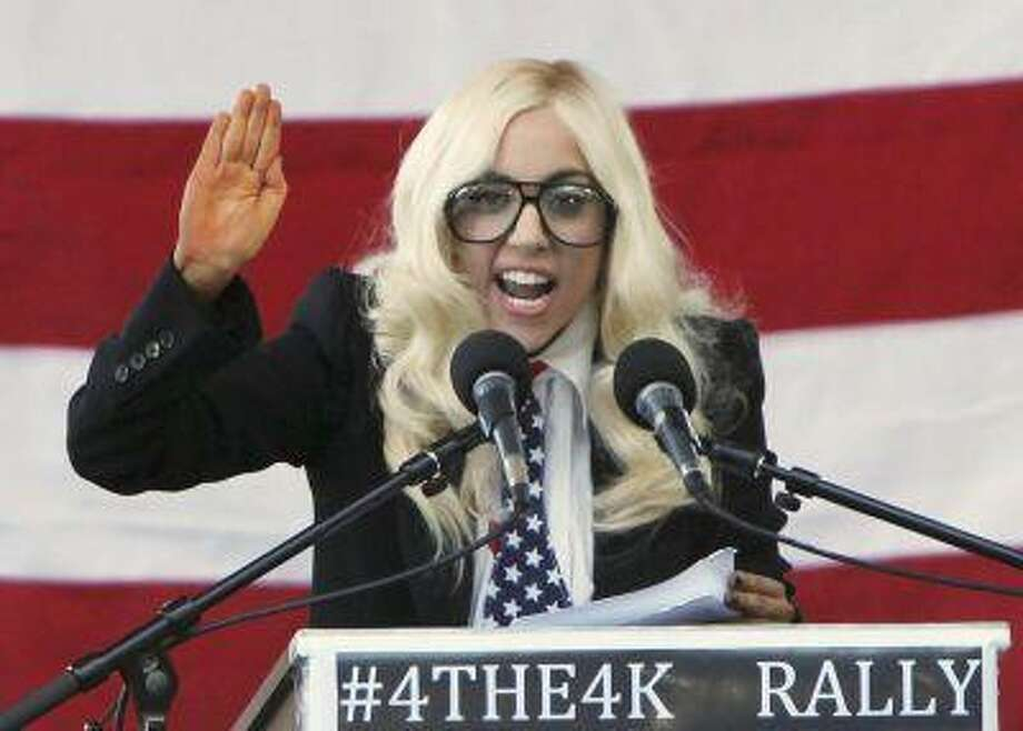 Singer Lady Gaga speaks at a rally in Portland, Maine, September 20, 2010 urging members of the Senate to repeal the military rule banning openly gay people from serving in the armed forces. REUTERS/Joel Page / X02685