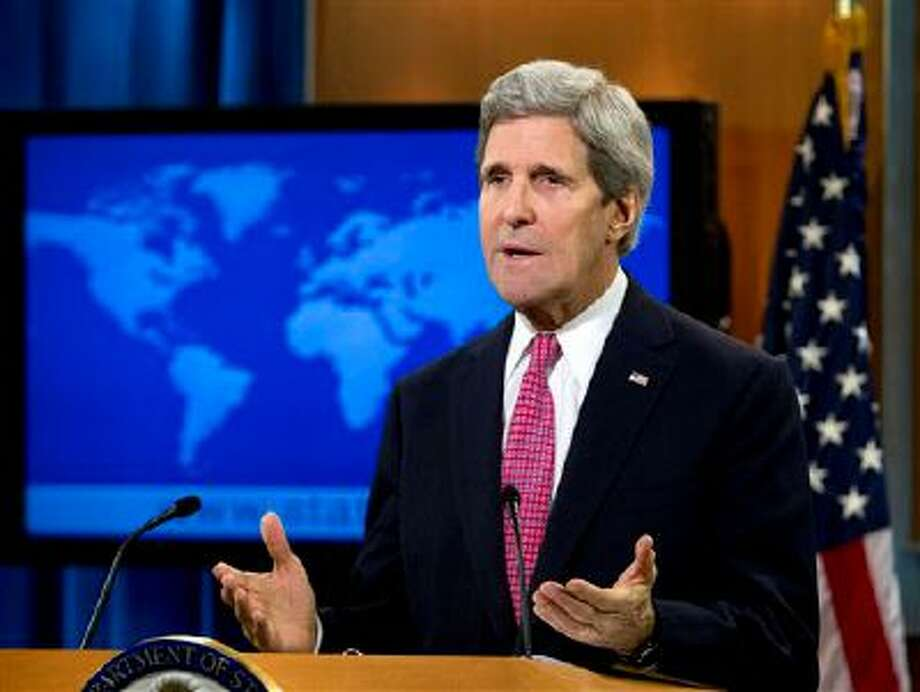 Secretary of State John Kerry speaks about the annual State Department Human Rights report, Thursday, Feb. 27, 2014, at the State Department in Washington. The U.S. says a chemical weapons attack in Syria that the Obama administration says killed more than 1,000 people was the world's worst human rights violation of 2013. An annual State Department report released Thursday also highlights government crackdowns on peaceful protests in Ukraine and Russia's refusal to punish human-rights abusers.  (AP Photo/Jose Luis Magana) Photo: AP / FR159526 AP