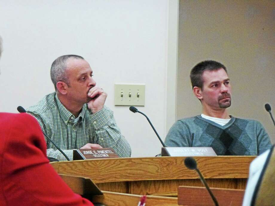 Selectmen Robert Vogt and Daniel Langer discuss several proposals including a spring-clean up, Mayor's Youth Council and the development of committee to discuss consolidating schools. Photo: Ryan Flynn - Register Citizen