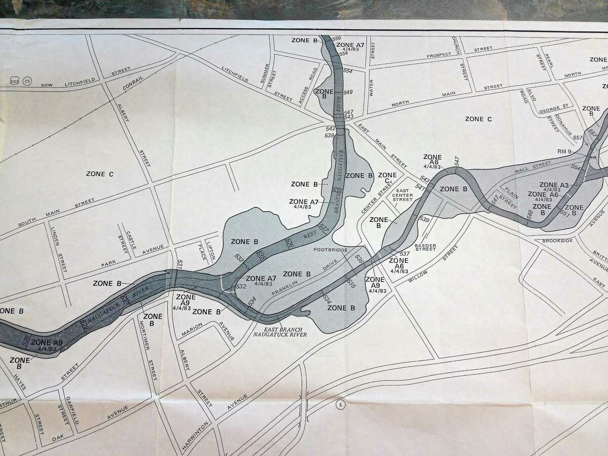 An example of a flood map showing Torrington's downtown. Watch a video at RegisterCitizen.com on how to read such maps, which are available at City Hall.