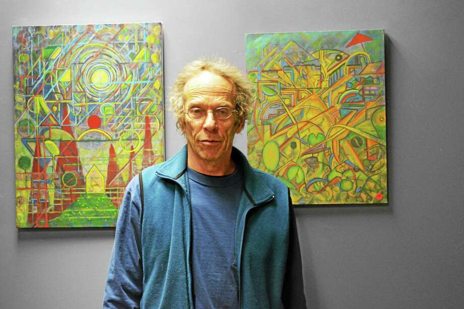 Paul Sakren, the March Artist of the Month at the Register Citizen Newsroom Cafe. Photo: Jenny Golfin — Register Citizen