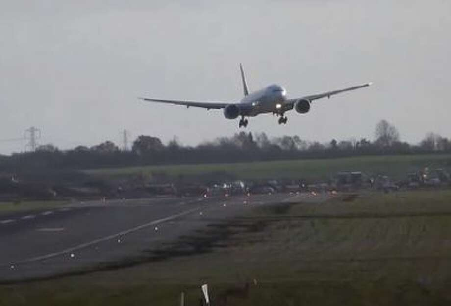 A plane tries and fails to land at the Birmingham airport in Britain.