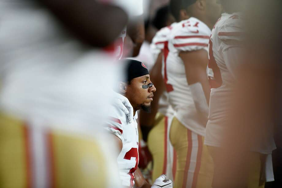 MINNEAPOLIS, MN - AUGUST 27: Eric Reid #35 of the San Francisco 49ers kneels dugout the National Anthem before the preseason game against the Minnesota Vikings on August 27, 2017 at U.S. Bank Stadium in Minneapolis, Minnesota. (Photo by Hannah Foslien/Getty Images) Photo: Hannah Foslien, Getty Images