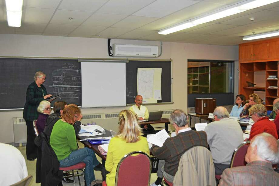 The regional study committee consists of the chairs of Norfolk and Colebrook's education and finance boards, at large members of the community and First Selectmen Susan Dyer, of Norfolk and Thomas McKeon, of Colebrook. Photo: Ryan Flynn — Register Citizen