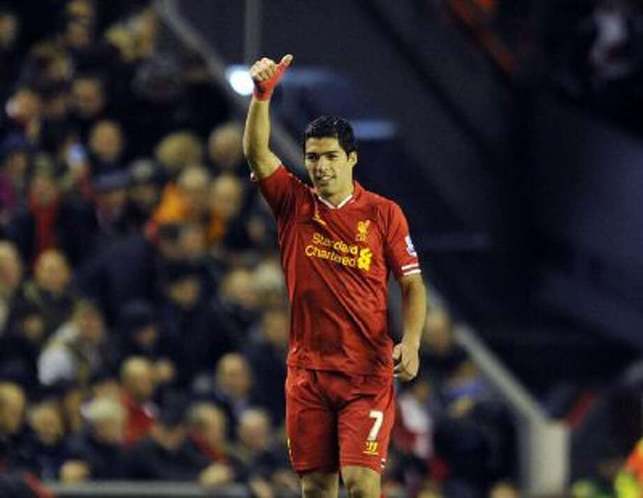 Luis Suarez after scoring his second goal of afternoon against Norwich.