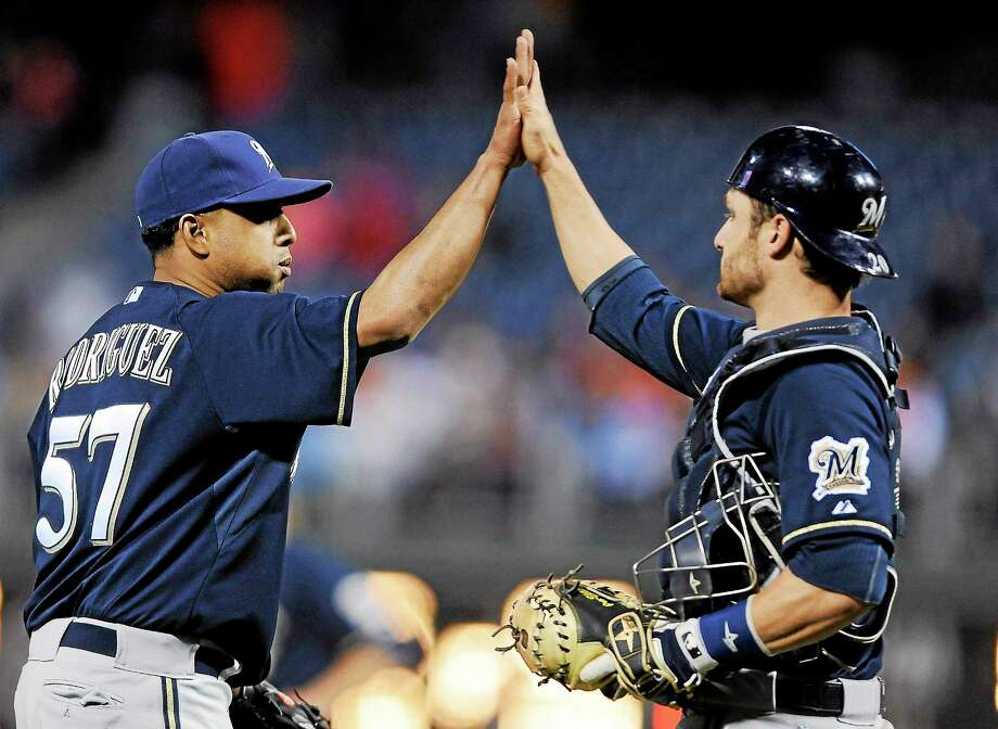 Milwaukee closer Francisco Rodriguez is one of the main reasons the Brewers have reached No. 1 in the Register MLB Rankings. K-Rod leads the majors with 10 saves. Photo: Michael Perez — The Associated Press  / AP2014
