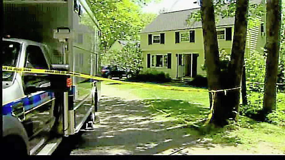 The house in Sharon where Michael Calabrese is accused of shooting Luke Vitalis in 2012. Photo: WTNH News 8 Photo