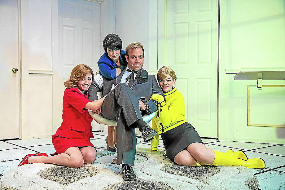 "Submitted photos - Richard Pettbione Cast members, from left,  Erin Shaughnessy, Reesa Roccaprione, James Hipp, and Vicki Sosbe, in a scene from ""Boeing Boeing"" at TheatreWorks in New Milford. Photo: Journal Register Co."