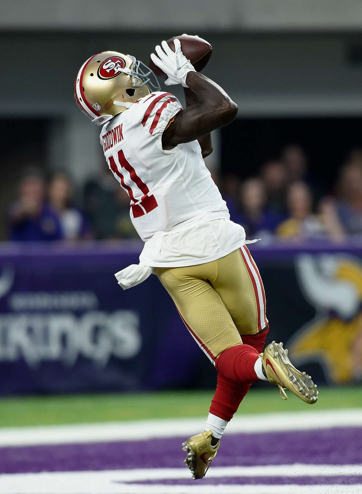 MINNEAPOLIS, MN - AUGUST 27: Marquise Goodwin #11 of the San Francisco 49ers makes a catch of the ball for a touchdown against the Minnesota Vikings during the first quarter in the preseason game on August 27, 2017 at U.S. Bank Stadium in Minneapolis, Minnesota. (Photo by Hannah Foslien/Getty Images)