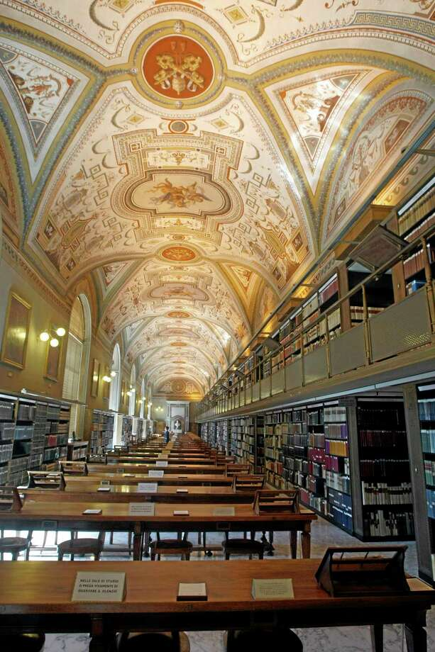 FILE - In this Monday, Sept. 13, 2010 file photo, a view of the Vatican Apostolic Library, Vatican City. The Vatican Library and Oxford University's Bodleian Library put the first of 1.5 million pages of ancient manuscripts online Tuesday, bringing their full two-volume Gutenberg Bibles and other precious documents to a global audience for the first time. The two libraries in 2012 announced a four-year project to digitize some of the most important works in their collections of Hebrew manuscripts, Greek manuscripts and early printed books. The 2 million pound ($3.3 million) project is being funded by the Polonsky Foundation, which aims to democratize access to information. (AP Photo/Pier Paolo Cito, File) Photo: AP / AP