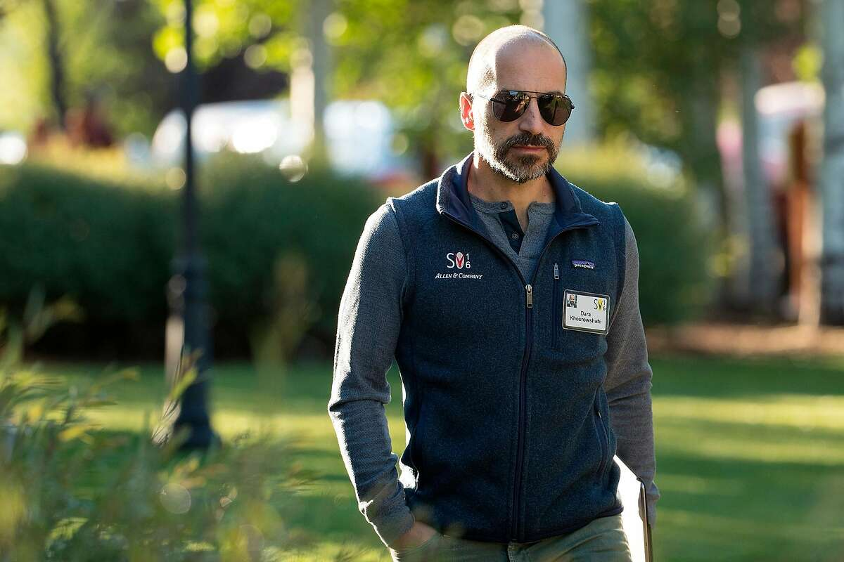 Dara Khosrowshahi, chief executive officer of Uber, at� the annual Allen & Company Sun Valley Conference, July 7, 2016 in Sun Valley, Idaho, in a branded Patagonia vest.
