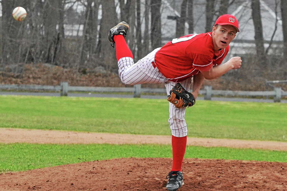 Wamogoís Tristan Pepin took a no-hitter into the fifth inning. Pepin went 5.2 innings and allowed only two hits, while striking out seven batters to get the win. Photo: Pete Paguaga — Register Citizen