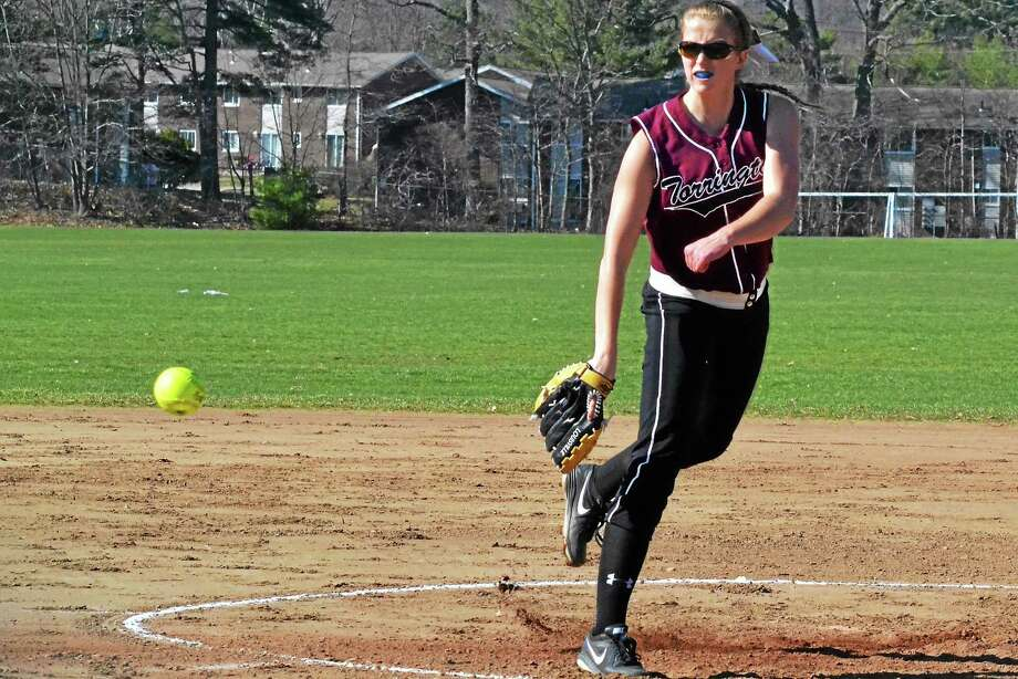 Torrington's Sydney Matzko struck out 17 batters on her way to tossing her first perfect game, second straight no-hitter, of the season in the Red Raiders 12-0 win over Derby. Photo: Pete Paguaga — Register Citizen