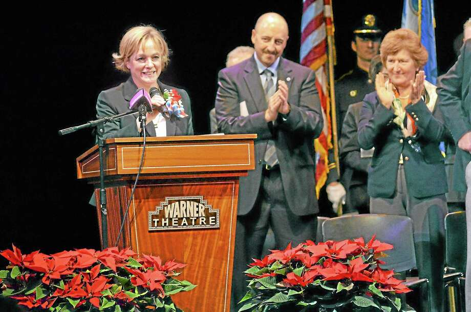 Elinor Carbone addresses the crowd at the Warner Theatre in Torrington after she was sworn in as the city's new mayor. Photo: John Berry—Register Citizen