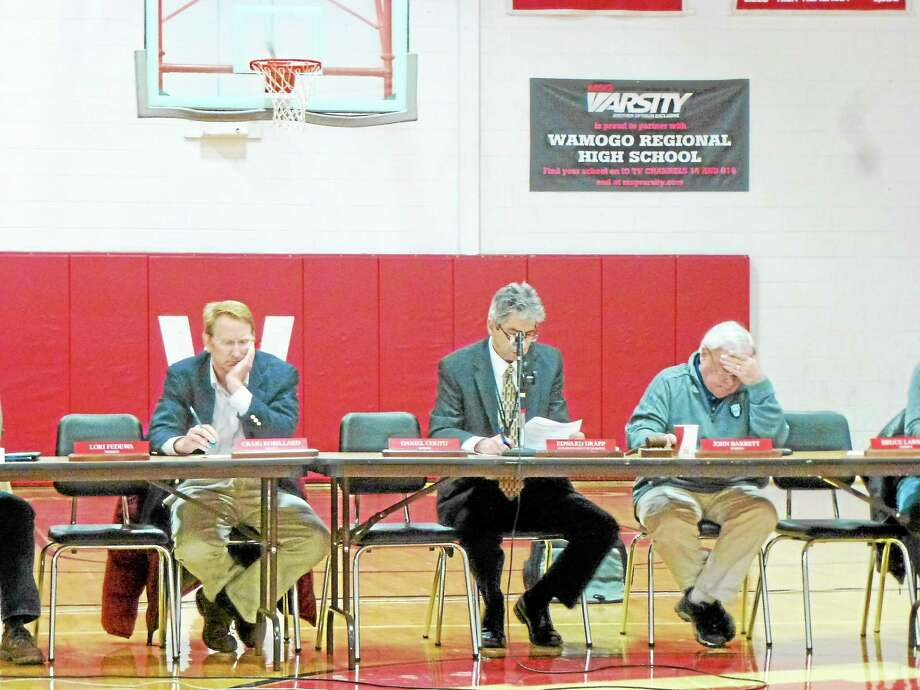 Members of local boards from all three towns were in attendance, including BOE members Craig Robillard (left) and John Barrett (right) as well as Superintendent Edward Drapp (center). Photo: Ryan Flynn—Register Citizen