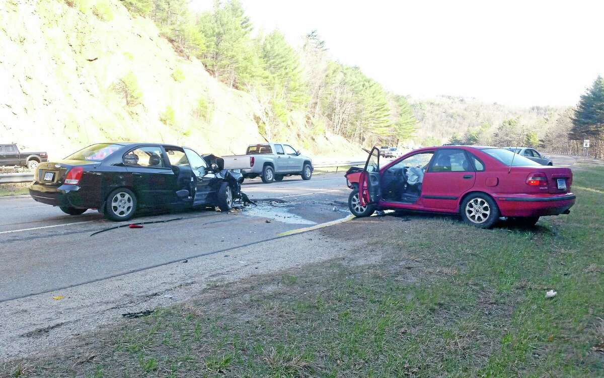 Two cars were involved in an accident on Route 8 Monday after one vehicle came over the median into the oncoming traffic.