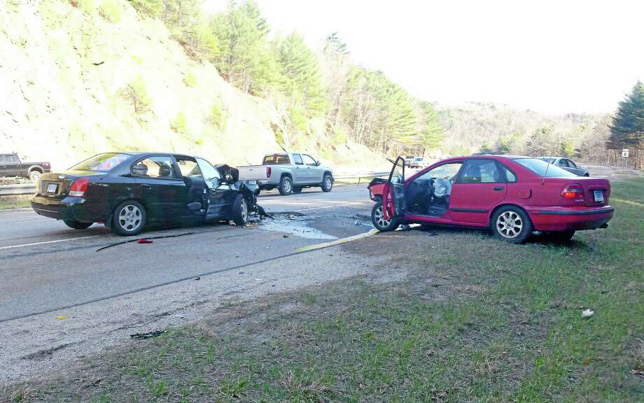 Two cars were involved in an accident on Route 8 Monday after one vehicle came over the median into the oncoming traffic. Photo: Submitted Photo