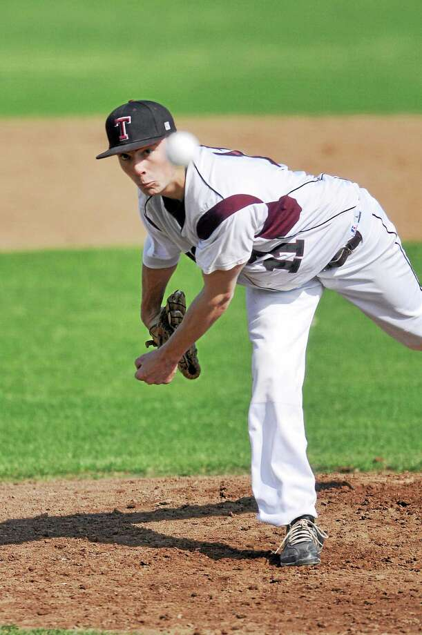 Torrington's Shane Bierfeldt threw a complete game, striking out 11 batters, walking none and allowing just one run in the Red Raiders 2-1 win over Wolcott. Photo: Laurie Gaboardi — Register Citizen