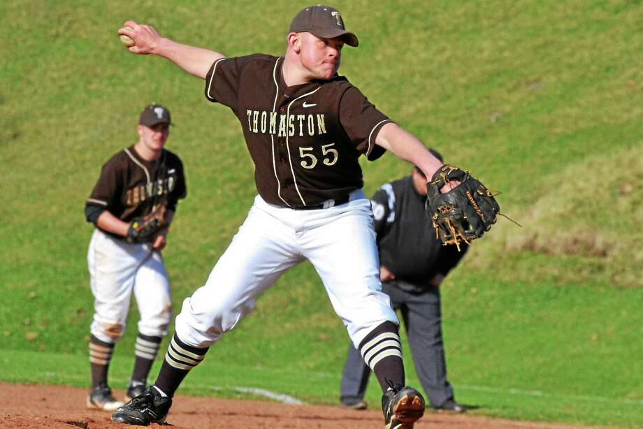 Thomaston's Brian Butkevicius came out of the bullpen and pitched three scoreless innings. He struck out four and allowed one hit to earn the win. Photo: Pete Paguaga — Register Citizen