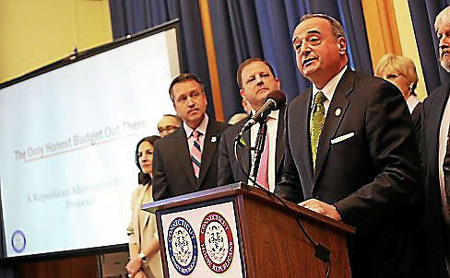 House Minority Leader Larry Cafero and other Republicans speak at a news conference announcing an alternative state budget. Photo: Christine Stuart — CTNewsJunkie.com