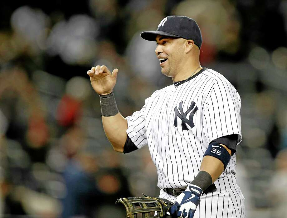 Yankees right fielder Carlos Beltran was forced to play first base in Sunday night's 3-2 victory over the Boston Red Sox in New York. Photo: Kathy Willens — The Associated Press  / AP
