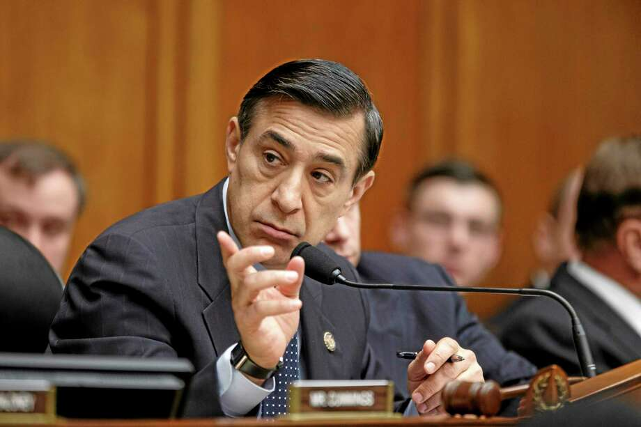 House Oversight Committee Chairman Rep. Darrell Issa, R-Calif., calls on his panel to find former Internal Revenue Service official Lois Lerner in contempt of Congress for her previous refusal to answer questions at two hearings probing whether tea party and conservative political groups had been targeted for extra scrutiny when they applied for tax-exempt status, Thursday, April 10, 2014, on Capitol Hill in Washington. Lerner was head of the IRS unit that decides whether to grant tax-exempt status to groups. Yesterday, the House Ways and Means Committee voted to refer former Internal Revenue Service official Lois Lerner to the Justice Department for possible criminal prosecution in the agency's tea party controversy.  (AP Photo/J. Scott Applewhite) Photo: AP / AP