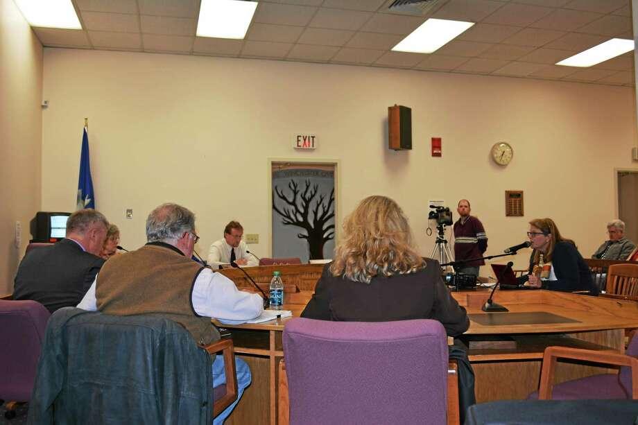 Ryan Flynn - Register Citizen Mayor Marsha Sterling (right) addresses the board during the budget presentation. Photo: Journal Register Co.