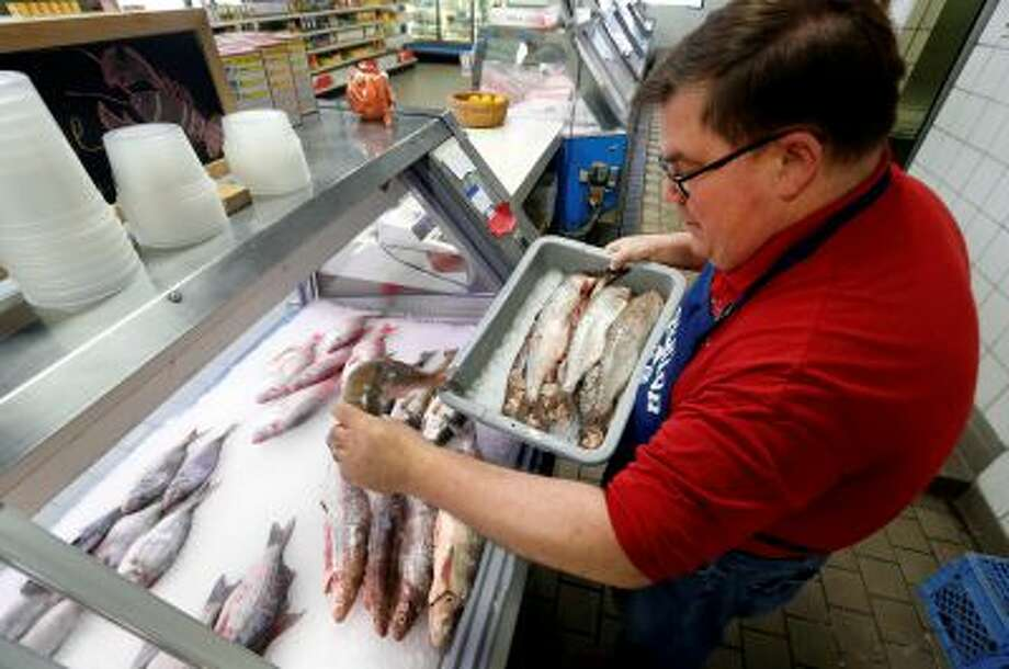 Kevin Dean, co-owner of Superior Fish Company, puts Whitefish out for sale in Royal Oak, Mich., Monday, April 14, 2014. Many fish markets in the Great Lakes region are running short of whitefish, and it's coming at a bad time: Passover. The shortfall is yet another ripple effect of the bitterly cold winter that caused vast sections of the Great Lakes to freeze over. Dean said his latest shipment of Whitefish amounted to just 75 pounds although he requested 500. (AP Photo/Paul Sancya) Photo: AP / AP2014