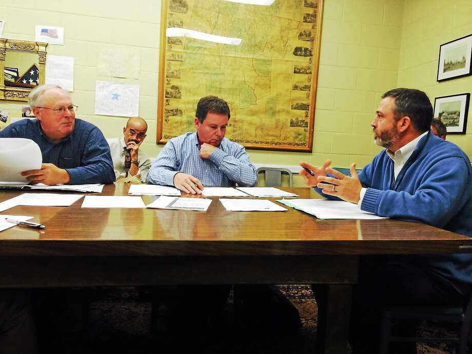 Jason Lathrop, Director of Business Operations of Litchfield Public Schools, was presenting to the Board of Selectmen. Photo: Shako Liu - The Register Citizen