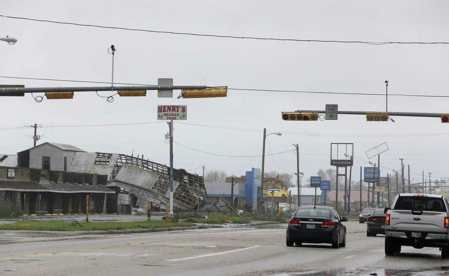 Destruction from Hurricane Harvey is seen along Alamo Street in Refugio, Texas, Sunday, August 27, 2017. The town is located about twenty miles inland from where the eye of the category 4 hurricane made landfall near Rockport, Texas Friday evening. Photo: JERRY LARA / San Antonio Express-News / San Antonio Express-News
